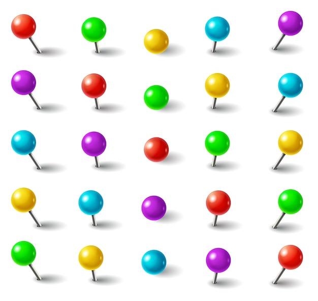 Realistische 3d-kleuren plastic push pins met ronde kop en naald in verschillende hoeken geïsoleerde set.