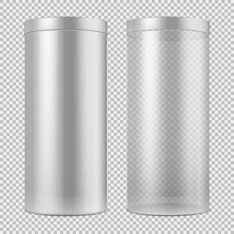 Realistische 3d lege transparante glazen pot en en wit kan met deksel. pakket voor eten, koekjes en geschenken geïsoleerd