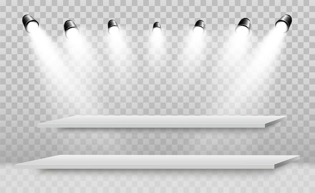 Realistische 3d-lichtbak met platform voor ontwerpprestaties, show, tentoonstelling. podium met schijnwerpers.