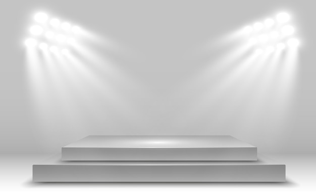 Realistische 3d-lichtbak met platform