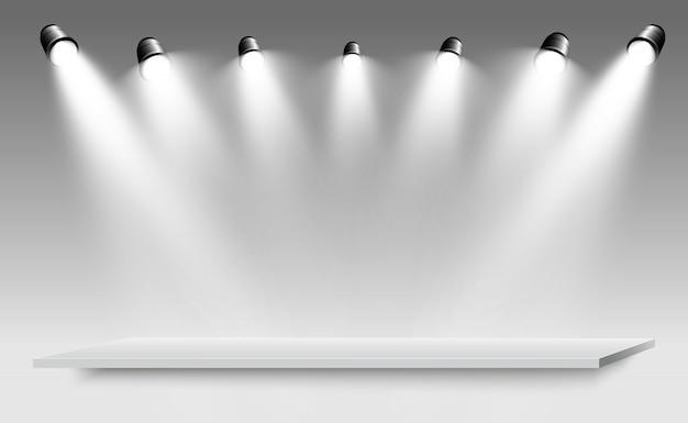 Realistische 3d-lichtbak met platformachtergrond voor ontwerpprestaties, show, tentoonstelling. illustratie van lightbox studio interior. podium met schijnwerpers.
