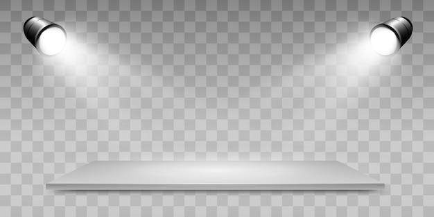 Realistische 3d-lichtbak met platformachtergrond voor ontwerpprestaties, show, tentoonstelling. lightbox studio-interieur. podium met schijnwerpers.