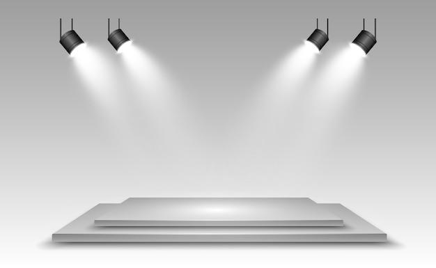Realistische 3d-lichtbak met platformachtergrond voor ontwerpprestaties, show, tentoonstelling.
