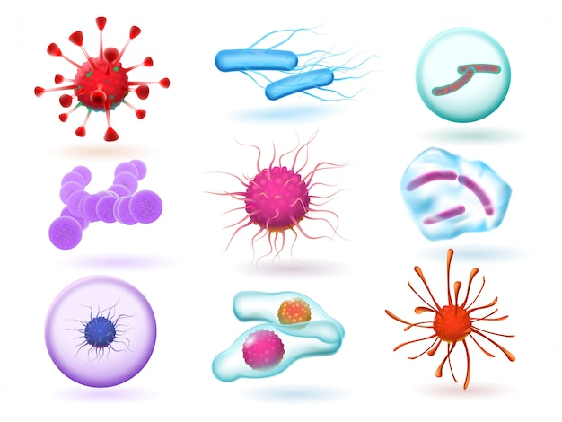 Realistische 3d-microbiologische bacteriën, verschillende virussen, natuur-micro-organismen en microscopische griepvirussen