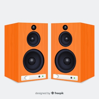 Realistische 3d oranje sprekersachtergrond