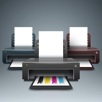Realistische 3d-printer. zakelijke infographic.
