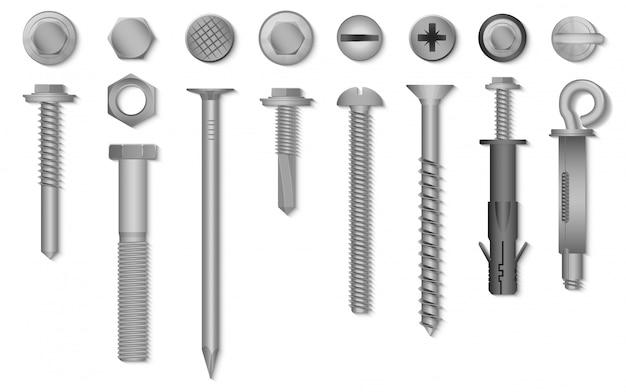 Realistische 3d-schroeven, moeren, bouten, klinknagels en spijkers voor bevestiging en bevestiging