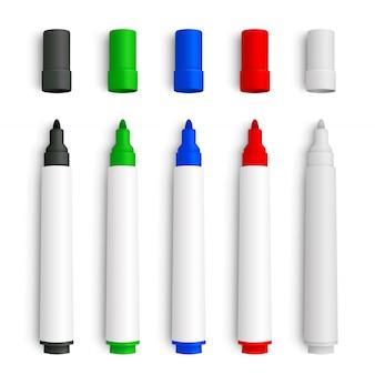 Realistische 3d set markeerstiften, rood, groen, geel, zwart en wit