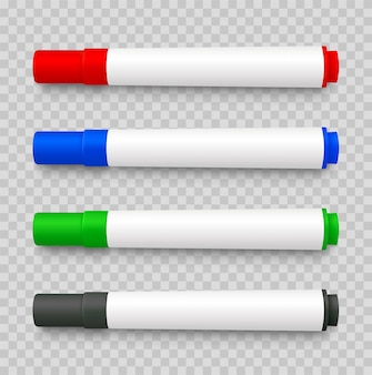 Realistische 3d set markeerstiften, rood, groen, geel, zwart op transparant