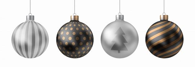 Realistische 3d-set van gouden, zilveren kerstballen met lijnen, stippen patroon