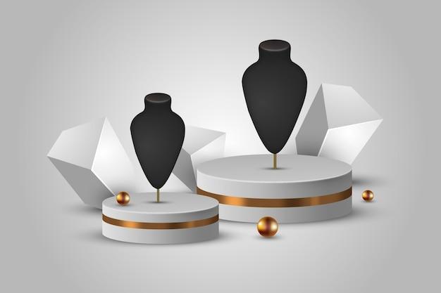Realistische 3d-sieraden showcase podium