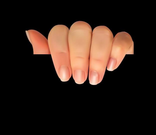 Realistische 3d-silhouet van de hand met blanco papier