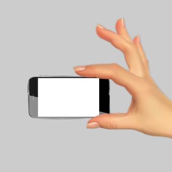 Realistische 3d-silhouet van de hand met mobiele telefoon