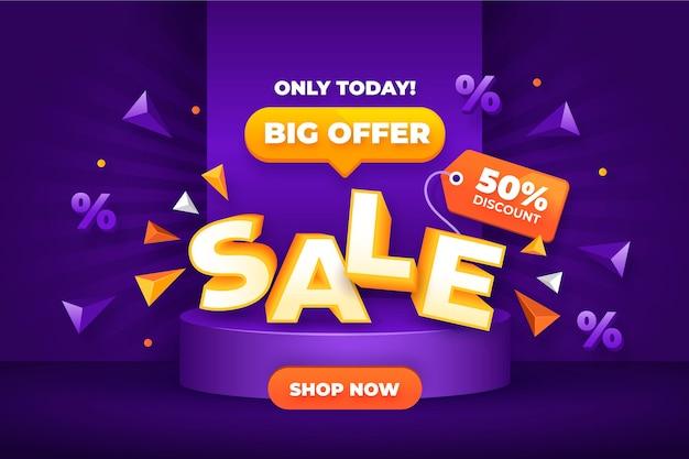 Realistische 3d-super verkoop achtergrond