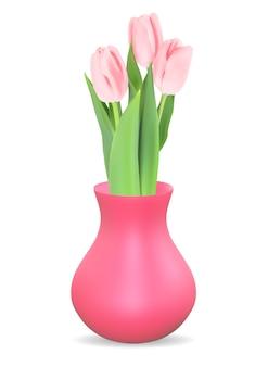 Realistische 3d-vaas met tulpenbloem.