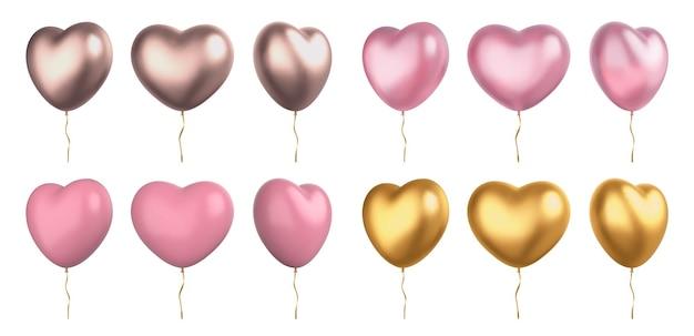Realistische 3d-valentijn roze en gouden hartvormige ballonnen. liefde symbool bruiloft decoratie met linten. valentijnsdag harten vector set