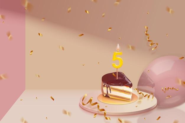 Realistische 3d-verjaardag achtergrond