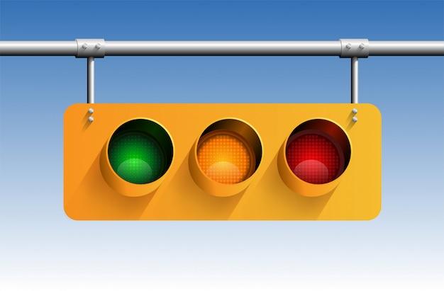Realistische 3d-verkeerslicht met geel bord met schaduw