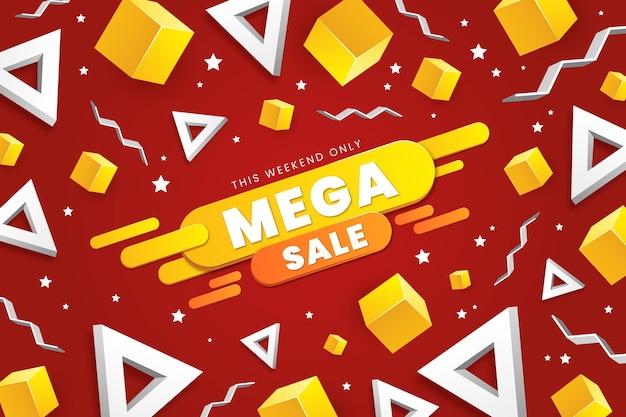 Realistische 3d verkoopachtergrond met driehoekige en kubieke vormen