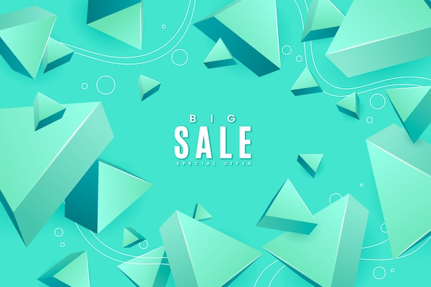 Realistische 3d verkoopachtergrond met driehoekige vormen