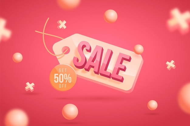 Realistische 3d-verkoopachtergrond met korting
