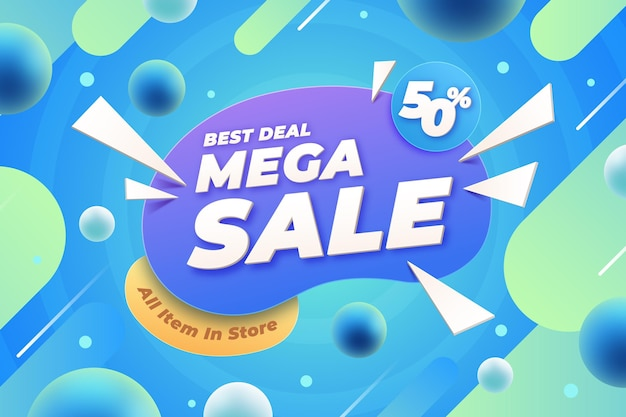 Realistische 3d-verkoopachtergrond