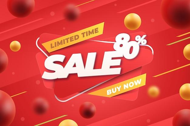 Realistische 3d-verkoopachtergrond Gratis Vector