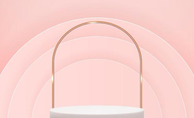 Realistische 3d-voetstuk over roze cirkel achtergrond trendy lege podiumvertoning voor advertenties cosmetische productpresentatie
