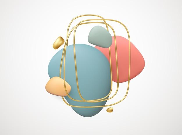 Realistische 3d-vormen abstracte creatieve achtergrond