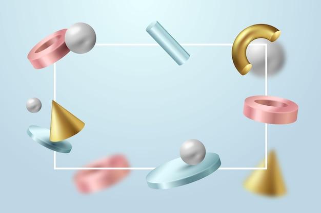 Realistische 3d-vormen zwevende achtergrond