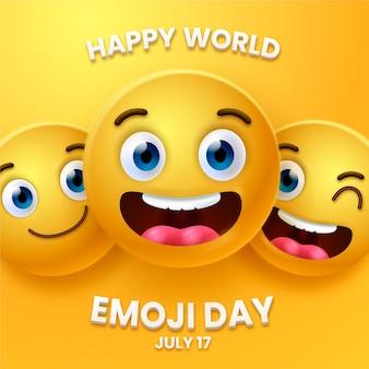 Realistische 3d-wereld emoji-dagillustratie