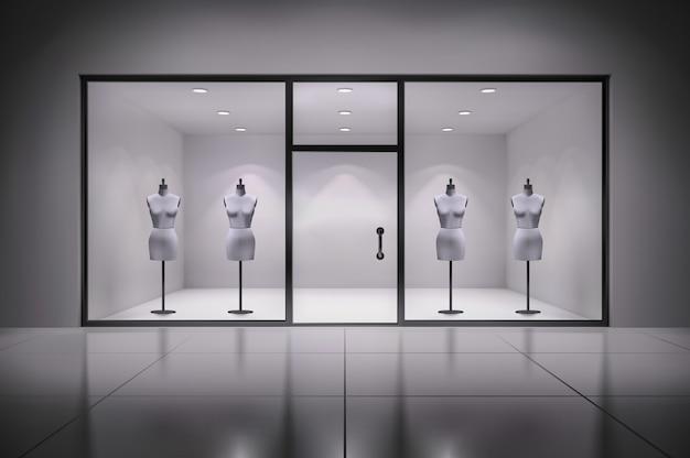 Realistische 3d winkel vitrine interieur