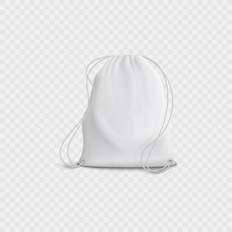 Realistische 3d-witte lege tas en rugzak met koord op een transparante achtergrond.