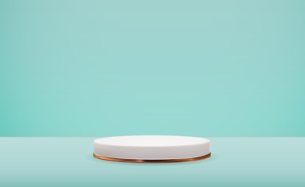 Realistische 3d-witte sokkel op blauwe pastel natuurlijke achtergrond. trendy lege podiumvertoning