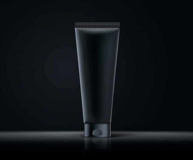 Realistische 3d zwarte cosmetische buis mock up. donkere thema illustratie. donkere achtergrond. realistisch cosmetisch pakket klaar voor uw ontwerp. hoofdzakelijk voorbereid op luxe design in zwarte tinten.