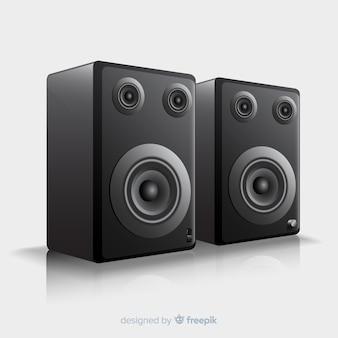 Realistische 3d zwarte sprekersachtergrond