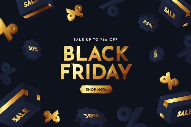 Realistische 3d zwarte vrijdag-achtergrond