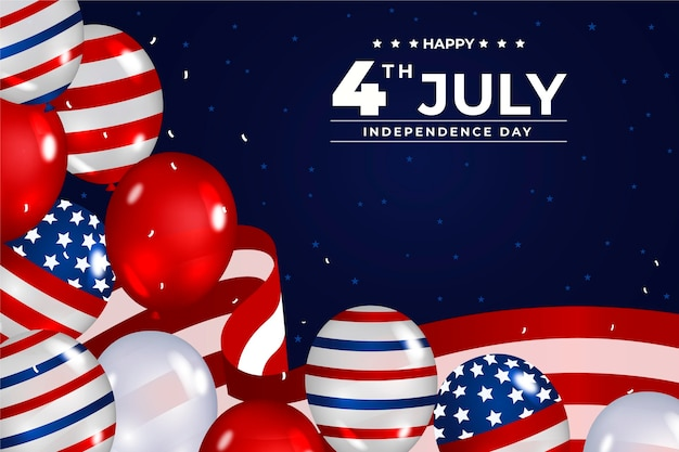 Realistische 4 juli - achtergrond van de ballonnen van de onafhankelijkheidsdag
