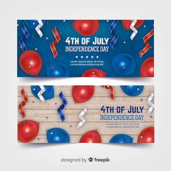 Realistische 4 juli banners