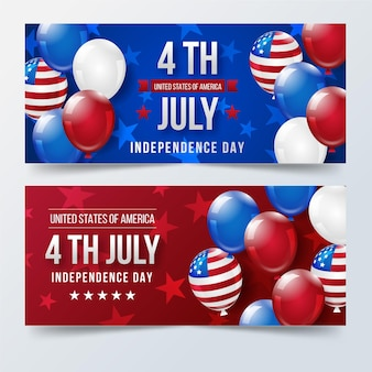 Realistische 4 juli - onafhankelijkheidsdag banners