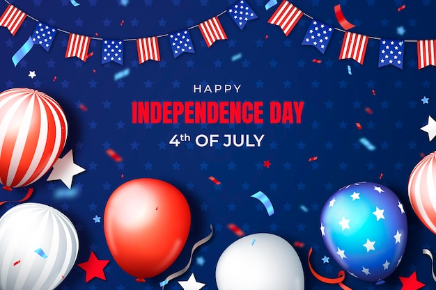 Realistische 4 juli - onafhankelijkheidsdag illustratie