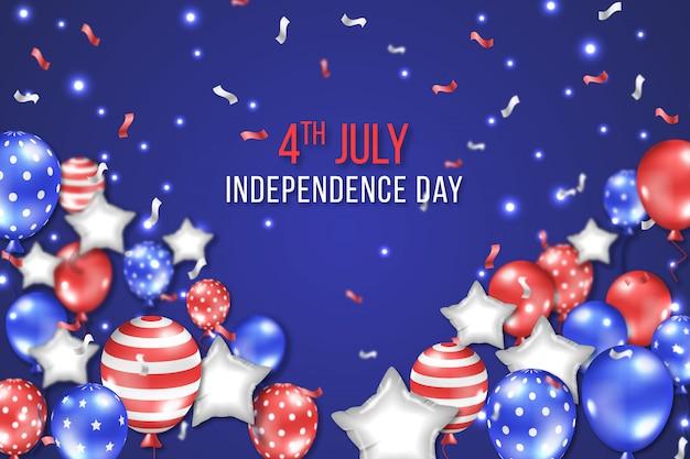 Realistische 4 juli van independence day baloons achtergrond