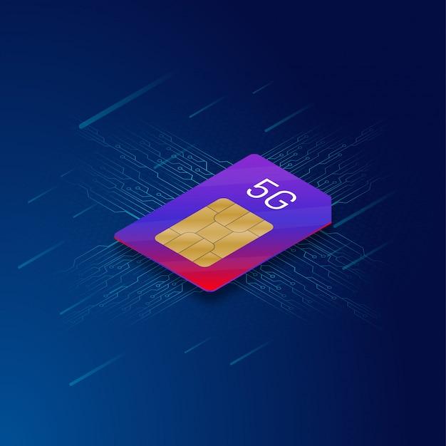 Realistische 5g-simkaart op blue circuit