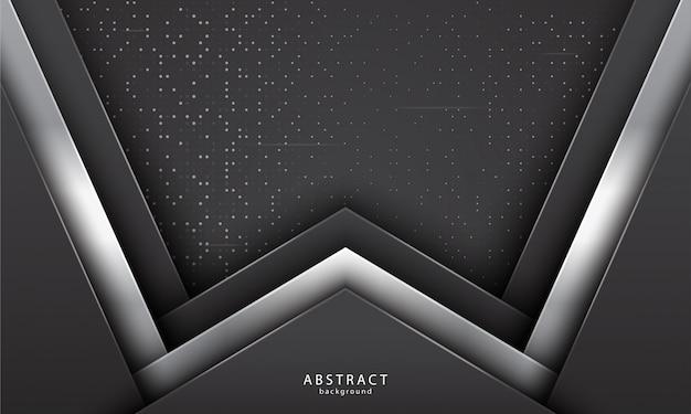 Realistische abstracte achtergrond met zwarte en zilveren kleur