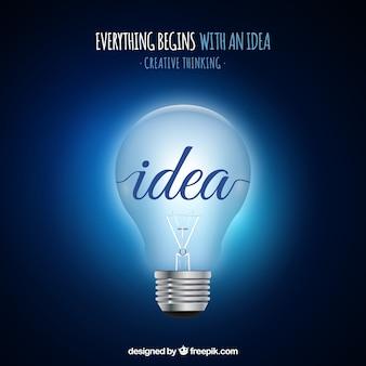 Realistische achtergrond alles begint met een idee