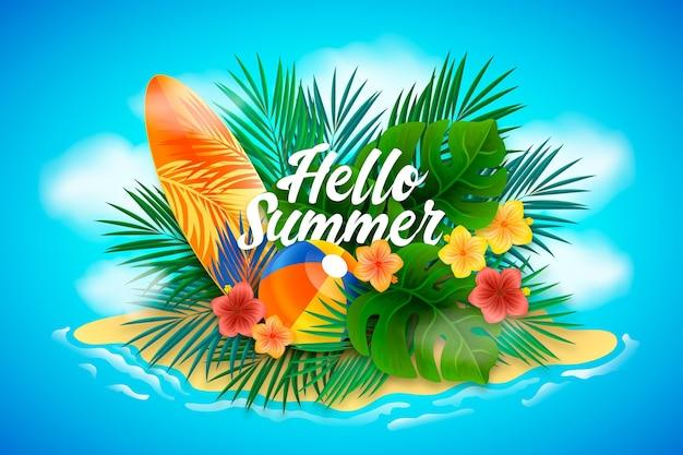 Realistische achtergrond hallo zomer
