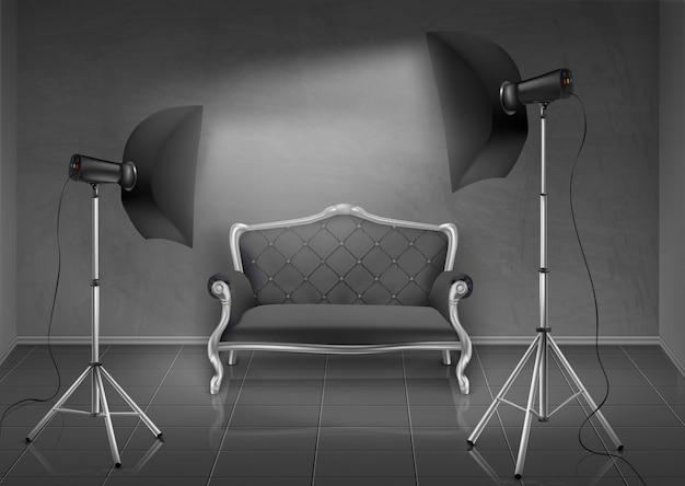 Realistische achtergrond, kamer met grijze muur en vloer, fotostudio met lege sofa, bank