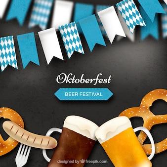 Realistische achtergrond met oktoberfest elementen