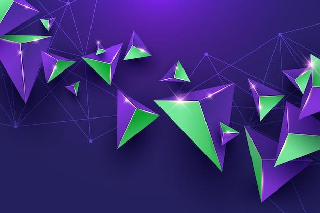 Realistische achtergrond met paarse en groene driehoeken