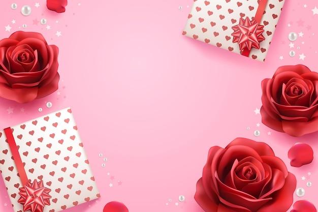 Realistische achtergrond met rode rozen en geschenken